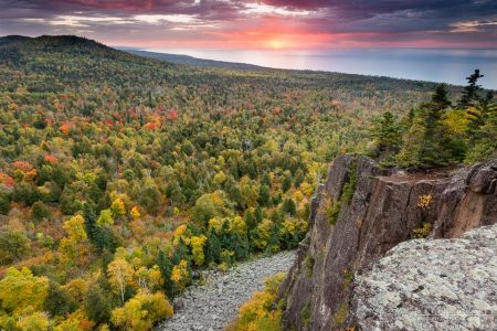 Fall colors and the sunrise from Oberg Mountain near Lutsen, Minnesota.