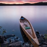 wooden canoe on Kemo Lake