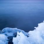 Ice on the shore of Lake Superior. Minnesota.