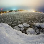 grand marais harbor at night in winter