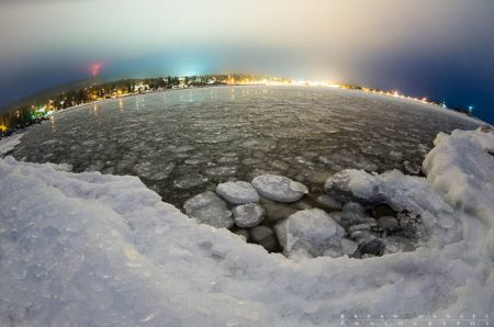 grand marais harbor at night in winter