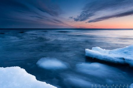 winter sunset over lake superior
