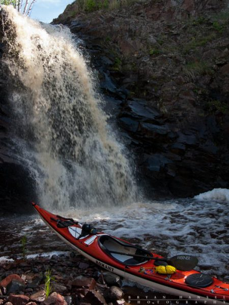 fall river and a kayak