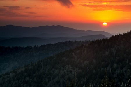 Sunset from Clingmans Dome in the Smoky Mountains. 130409-640