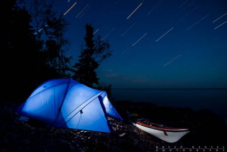night photography above a tent