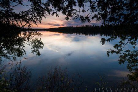 sunset through cedar on Cascade Lake, Cook County, MN