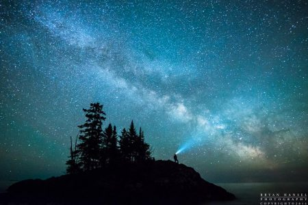 milky way over lake superior and the tombolo