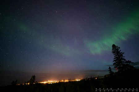 northern lights over Grand Marais, Minnesota