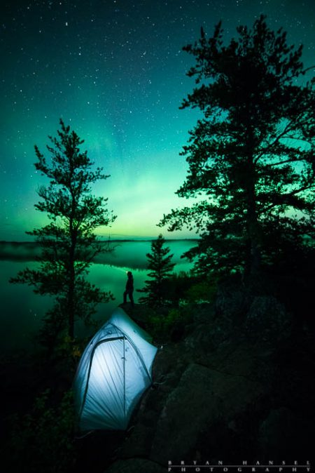 camping under the northern lights on honeymoon bluff
