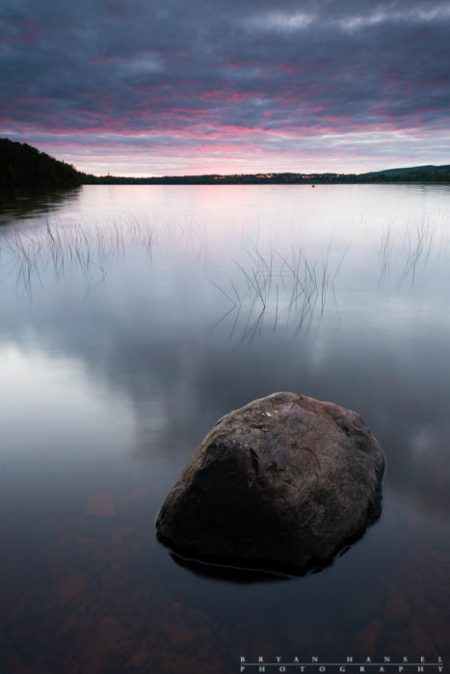 A calm sunset on Elbow Lake in northern Minnesota. 130814-10