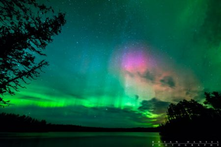 northern lights over WEst BEarskin