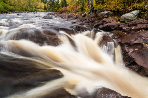 The Temperance River waterfall in the fall. Cook County, Minnesota.