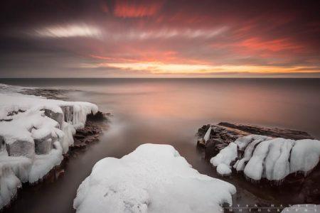 winter sunrise over Lake Superior