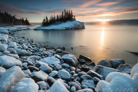 sunrise over lake superior and the rock near hovland
