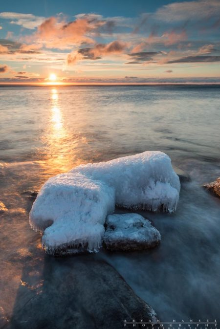 sunrise over an ice island on Lake Superior, Cook County