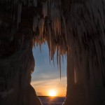 sunset at the Apostle Islands ice caves