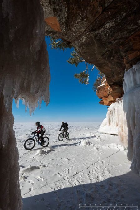 fat bikes in the Apostle Island ice caves