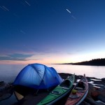 Kayak camping under the stars near Grand Marais, Minnesota.