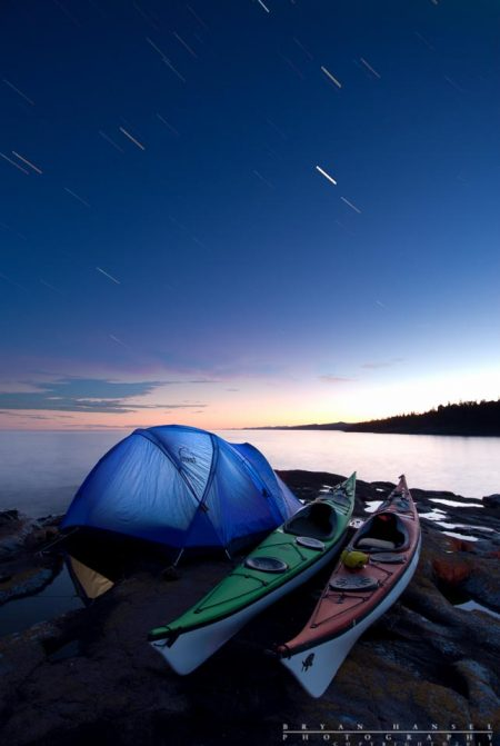 Kayak camping under the stars near Grand Marais, Minnesota.