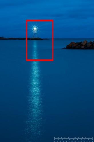 Full moon shot overlayed onto the lighthouse.