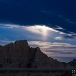 moonset over the Badlands National Park