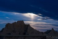 moonset over the Badlands National Park