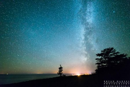 the milky way over Lake Superior and Grand Marais
