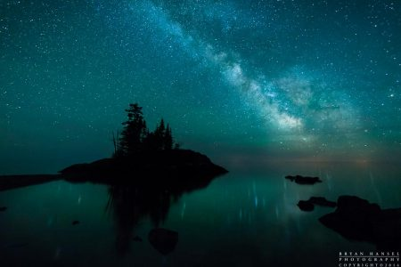 the milky way above the tombolo on lake superior