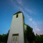 The Milky Way lights up the sky over Maple Hill Church in northern Minnesota near Grand Marais.