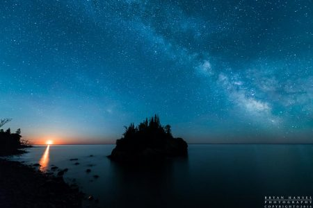 The milky way and the quarter moon over Lake Superior