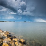A thunderstorm over the Grand Marais harbor