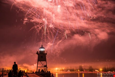 fireworks over the Grand Marais lighthouse