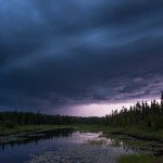 a thunder storm blows in over Cascade River, Cook County, MN