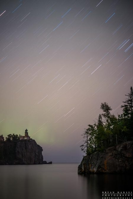 Split Rock Lighthouse under Star Trails