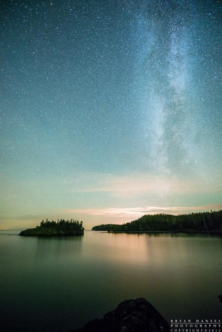 the Milky Way over Lake Superior at Split Rock lighthouse