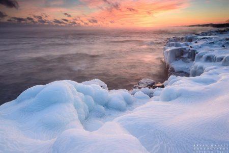 winter sunset over Lake Superior