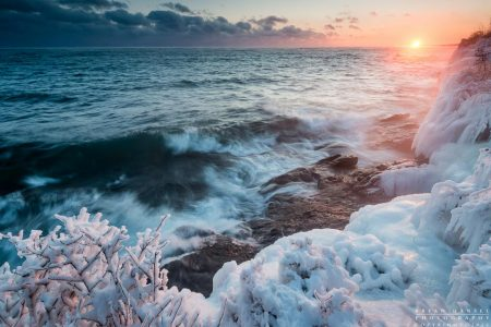 winter sunset at Butterwort Cliffs