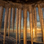 Lake Superior ice cave at sunrise