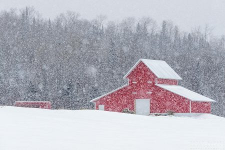 Red Barn in Snow Storm