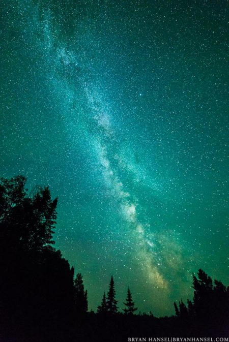 The Milky Way rises over trees in the northwoods of Minnesota.
