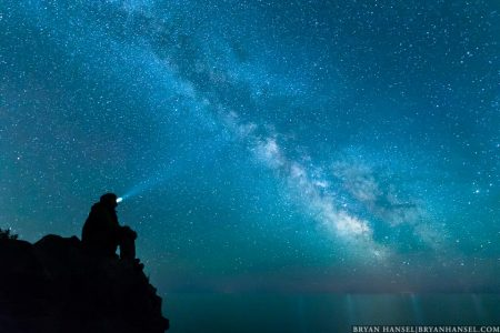 The thinker under the milky way