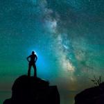 female model under the Milky Way