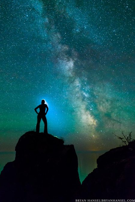 female model under the Milky Way