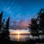 Moonrise over Devil Track Lake in northern Minnesota