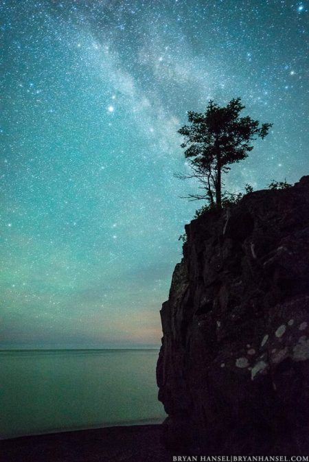 Milky Way over Lake Superior and a tree