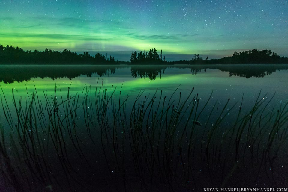 northern lights over Crescent Lake