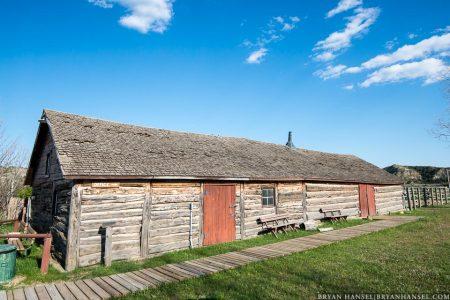 old log stable in north dakota badlands