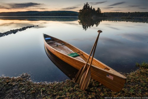 canoe on the shore of Two Island Lake