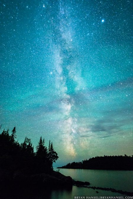 milky way over islands on Lake Superior