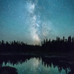 Milky Way reflected in a clam lake